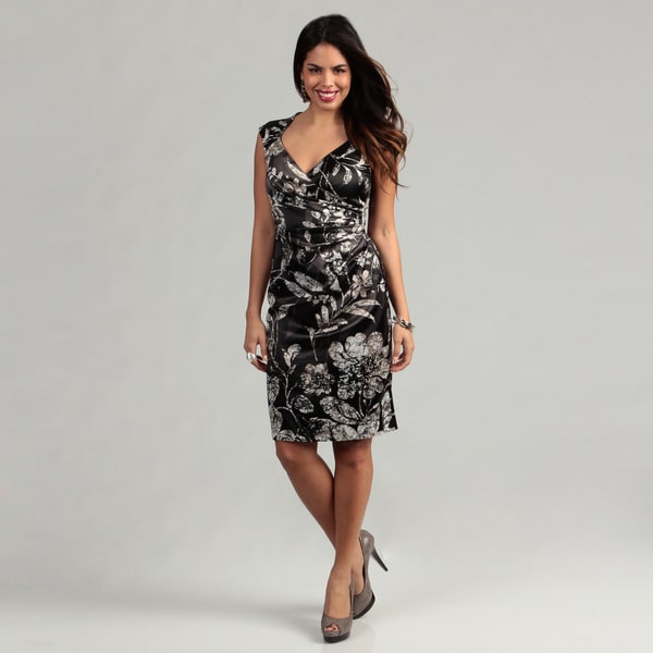 London Times Women's Black/ Grey Floral Satin Stretch Dress