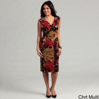 London Times Printed Mesh Dress