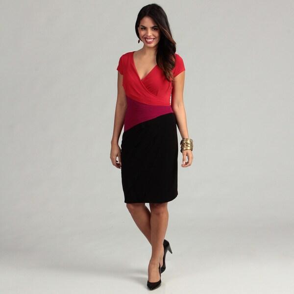 London Times Women's Matte Color-block Jersey Sheath Dress