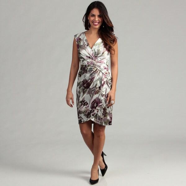 London Times Women's Floral Mock Wrap Sheath Dress