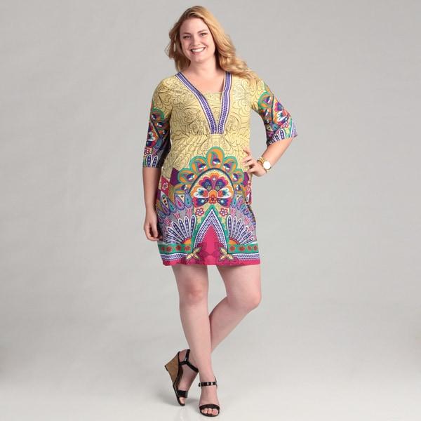 White Mark Women's Yellow/ Pink Peacock Plus Size Dress