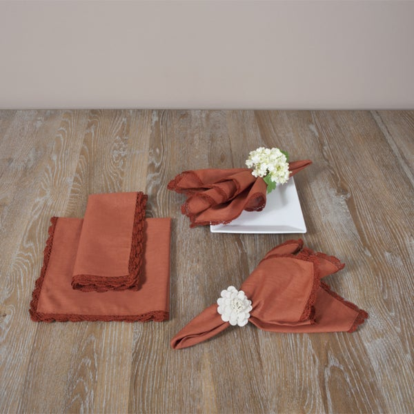 Crochet Terracotta Lace Napkins (Set of Four)