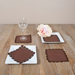 Chocolate Crochet Lace Coasters (Set of 4)