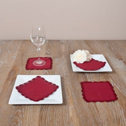 Cranberry Crochet Lace Coasters (Set of 4)