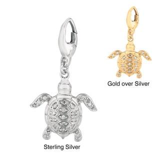 Silver Diamond Turtle Charm