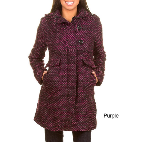 Stanzino Women's Tweed Hooded Long Coat