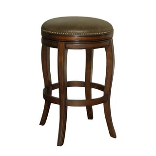 Wenden 26-inch Brown Leather Swivel Counter Stool