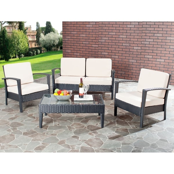 Safavieh Outdoor Living Beige Cushioned Black Glass Top 4 piece Patio Set F