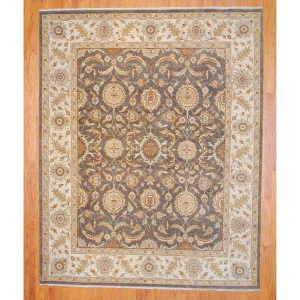 Indo Hand-knotted Oushak Brown/ Ivory Wool Rug (8' x 10')