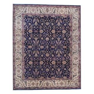 Herat Oriental Indo Hand-knotted Tabriz Black/ Gold Wool Rug (8' x 10')