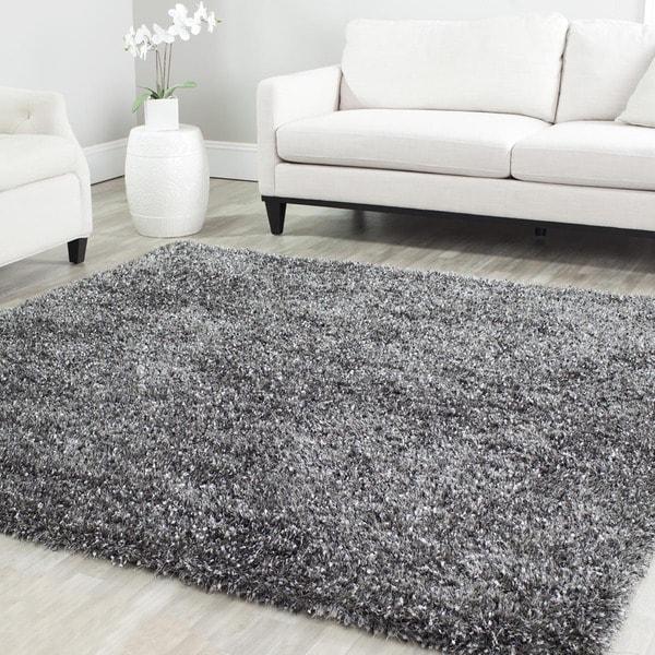 safavieh handmade malibu shag charcoal grey polyester rug 7u0027 square - Grey Shag Rug
