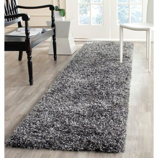 Safavieh Handmade Malibu Shag Charcoal Grey Polyester Runner (2'3 x 9')