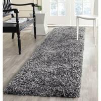 Safavieh Handmade Malibu Shag Charcoal Grey Polyester Runner (2'3 x 7')