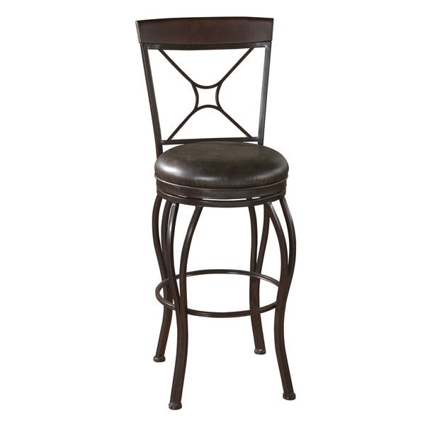 Cordes Textured Brown Leather Swivel Bar Stool