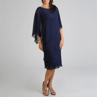 S.L. Fashions Women's Tiered 2-piece Evening Dress