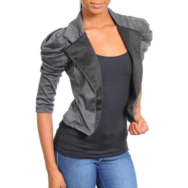Stanzino Women's 3/4 Sleeve Cropped Open Blazer