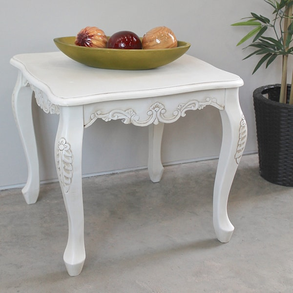 International Caravan Antique White Carved Wood End Table