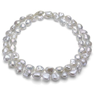 High Luster 36-inch White Souffle Freshwater Pearl Endless Necklace (13-16 mm)