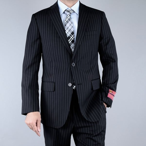 Men's Black Pinstriped 2-button Wool Suit