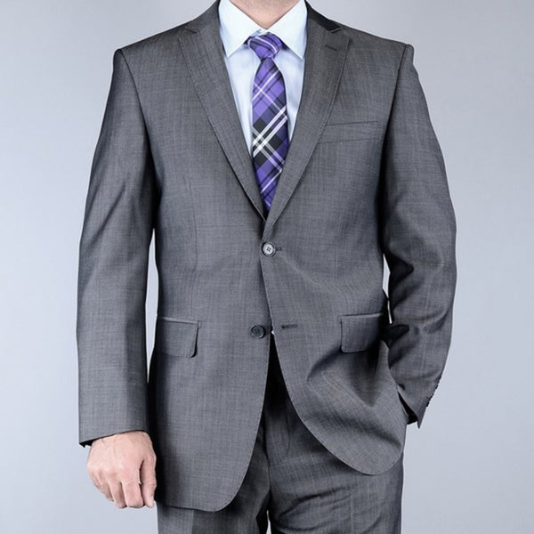 Men's Grey Sharkskin 2-button Wool Suit - Free Shipping Today ...