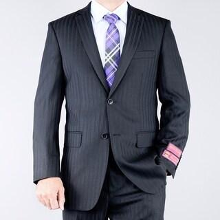 Men's Classic Fit Textured Black 2-button Wool Suit