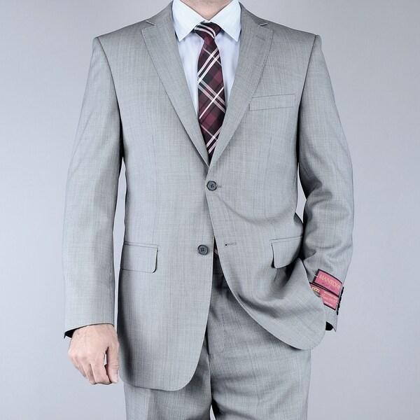 Men's Classic Fit Birdseye Grey Black 2-button Wool Suit