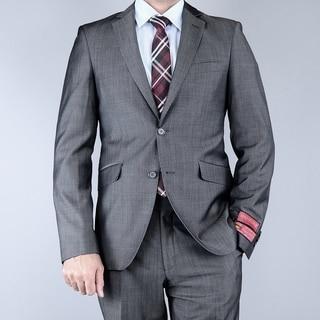 Men's EuroSlim Fit Sharkskin Grey Black 2-button Wool Suit