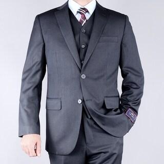 Men's Striped Grey 2-button Vested Suit