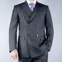 Men's Classic Fit Black Double Breasted Wool Suit