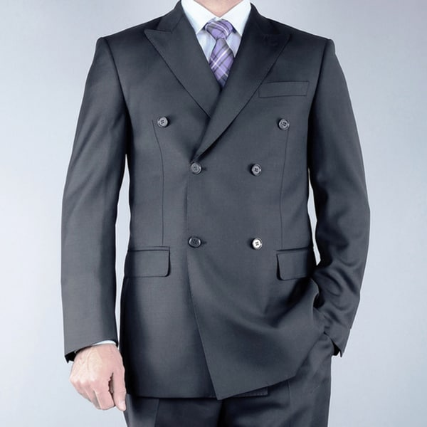 Men's Classic Fit Black Double Breasted Wool Suit - Free Shipping ...