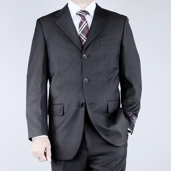 Men's Textured Black 3-button Suit