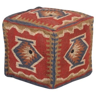 "Link to Handmade Kilim Pouf (India) - 16"" x 16"" x 16"" Similar Items in Ottomans & Storage Ottomans"