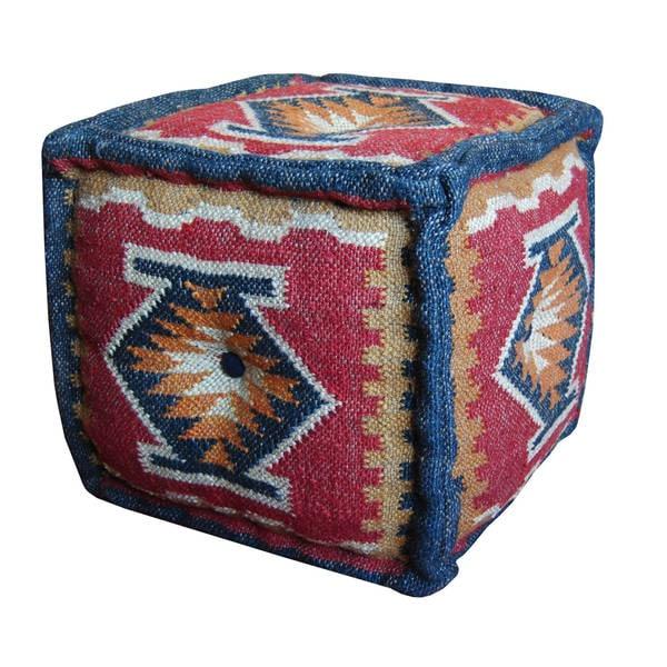 Handmade Herat Oriental Indo Kilim Upholstered Ottoman Puff (India)