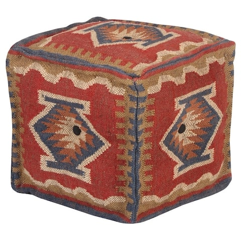 """Handmade Kilim Pouf (India) - 16"""" x 16"""" x 16"""""""
