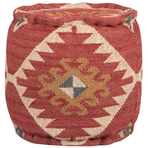 "Handmade Kilim Upholstered Ottoman (India) - 16"" x 16"" x 14"""