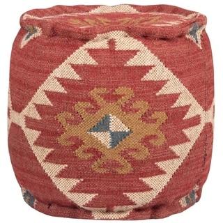 Herat Oriental Handmade Burgundy Kilim Pouf Ottoman (India)