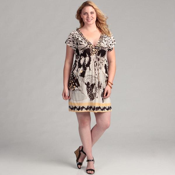 White Mark Women's Plus 'Milano' Coffee Butterfly Sleeveless Dress