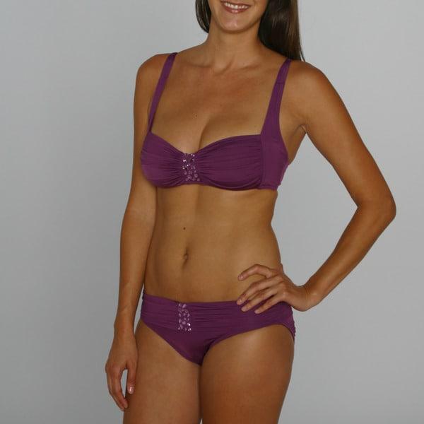 Jantzen Women's Orchid Bandeau Top/ Banded Bottom Bikini