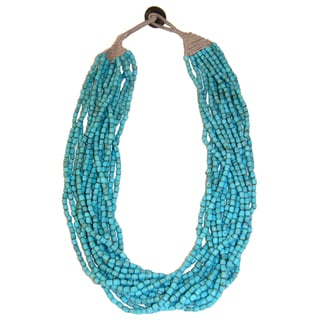 Handmade Cotton and Glass Turquoise Naga Necklace (India)