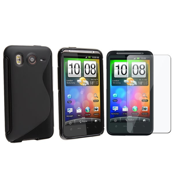 INSTEN Black TPU Phone Case Cover/ Screen Protector for HTC Desire HD/ Ace
