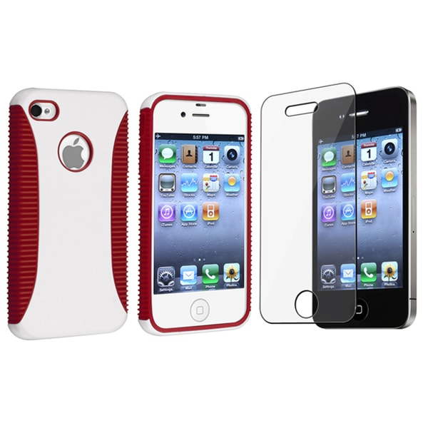 BasAcc Red/ White Hybrid Case/ Screen Protector for Apple iPhone 4/4S