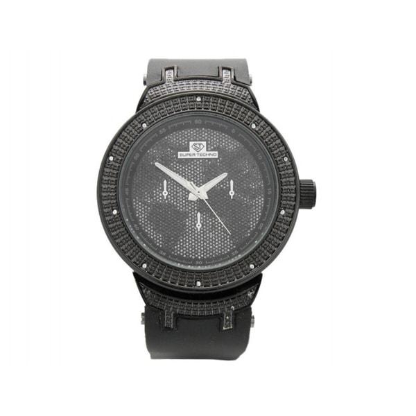 Super Techno Men's Black Diamond Watch