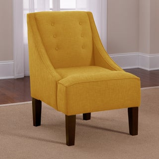Skyline French Yellow Button Accented Linen Swoop Arm Chair