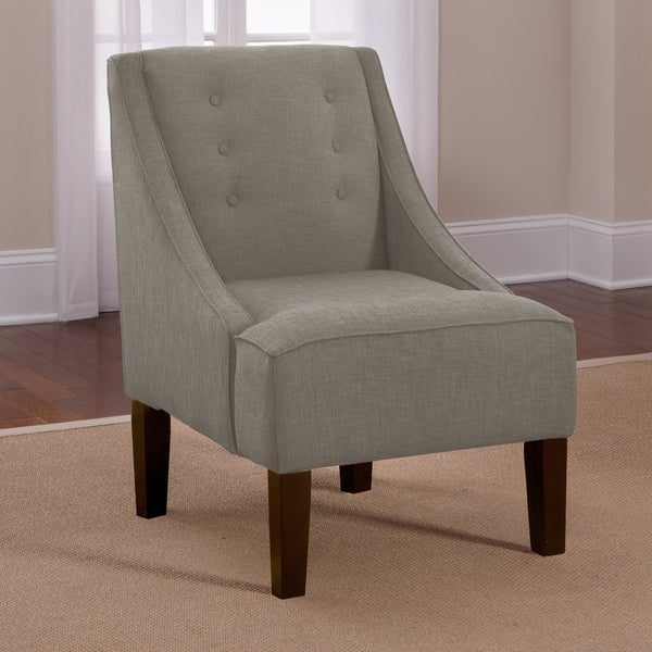 Skyline Grey Linen Button Accented Swoop Chair