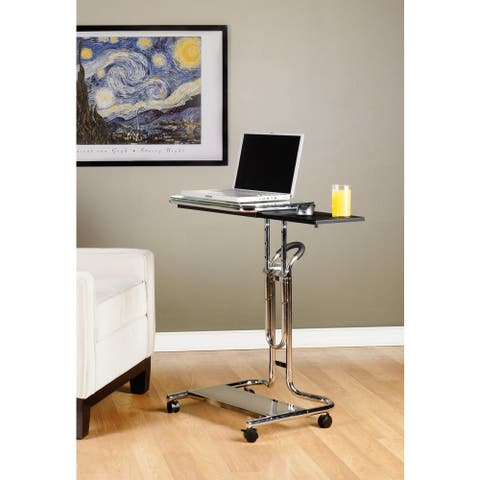 Calico Designs Clear Glass Laptop Cart with Mouse Pad