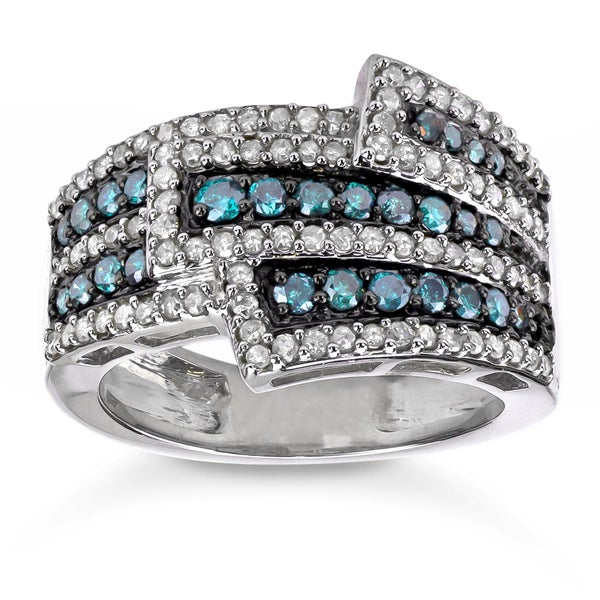 Sterling Silver 1ct TDW Blue and White Diamond Cocktail Ring