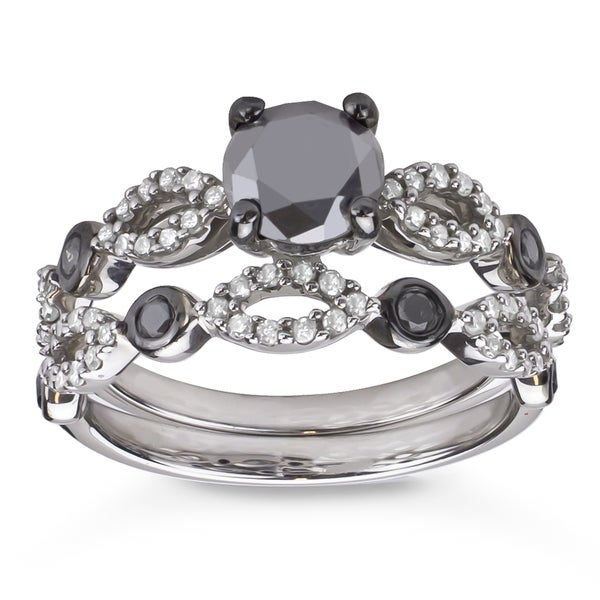 Sterling Silver 1 1/2ct TDW Black and White Diamond Bridal Ring Set (H-I, I1-I2)