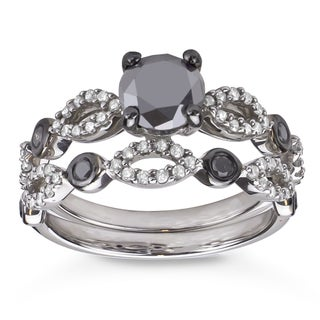 Sterling Silver 1 1/2ct TDW Black and White Diamond Bridal Ring Set