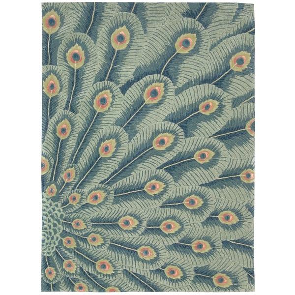 Nourison Hand-tufted Moda Blue Peacock Rug (9'6 x 13'6)