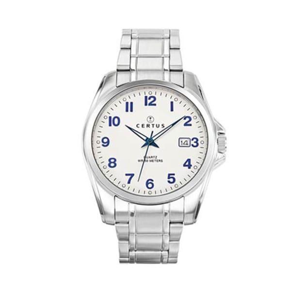Certus Paris stainless steel men's silver dial date watch